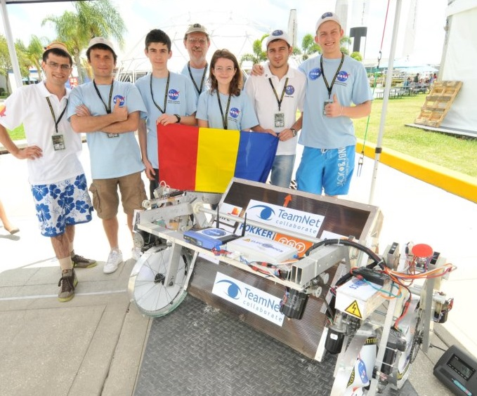 Our team and the robot at NASA Lunabotics Mining Competition