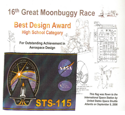 Best Design Award. We received a piece of a flag that flew on board of ISS